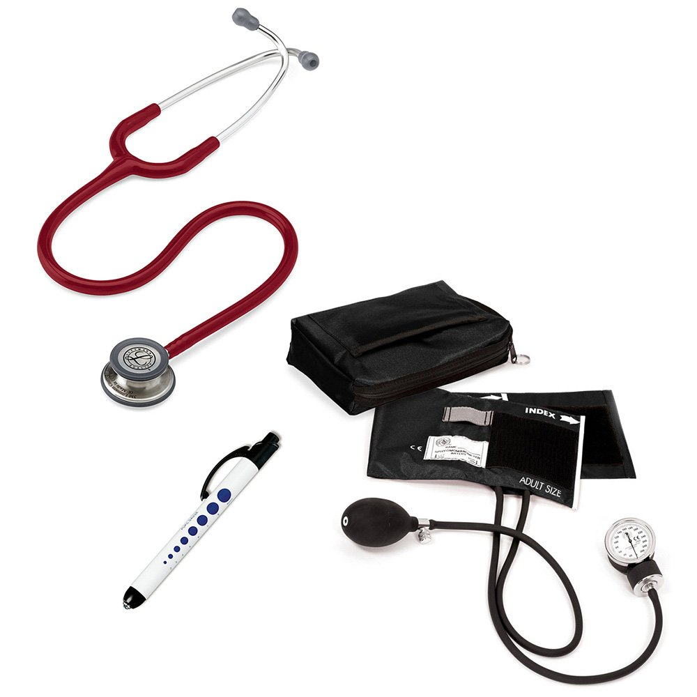 3M Littmann Classic Iii™ Prestige Medical Adult Sphygmomanometer With Case And Quick Lites Penlight Kit Burgundy