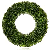 "Custom & Unique (20"" Inches) 1 Single Mid-Size Decorative Holiday Wreath for Door, Made of UV Resistant Resin w/ Bountiful Nature Twigs Garden Boxwood Bush Vine Leaf Leaves Style (Green & Yellow)"