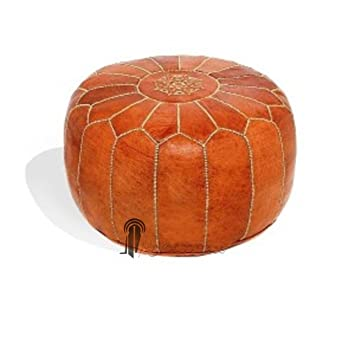Pouf design cuir marocain marron, pouf en cuir véritable fait main ...