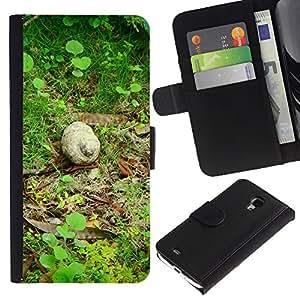 KingStore / Leather Etui en cuir / Samsung Galaxy S4 Mini i9190 / Naturaleza Caracol Verde Bosque Primavera