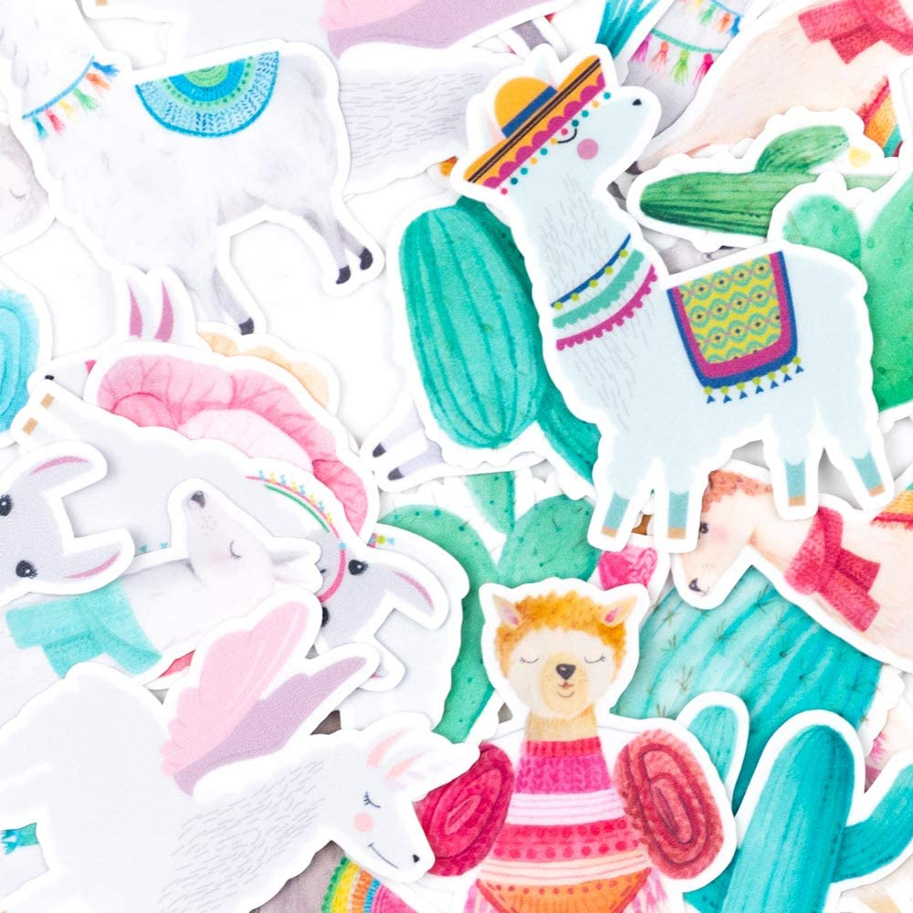 // Funny Watercolor Stickers for Scrapbooking June Cute Llama /& Colorful Cactus Stickers Phone Cases Bullet Journals Planners//Lovely Waterproof Stickers for Water Bottles 30 Pieces Laptops