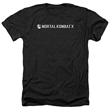 Mortal Kombat Combat X HORIZONTAL LOGO Licensed Adult Heather T-Shirt All Sizes