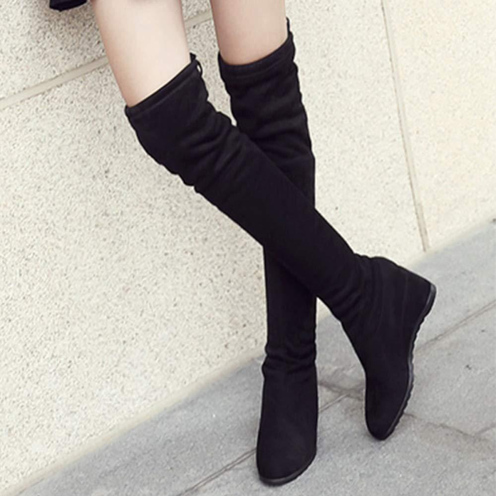 QQWE Damen Overknee Stiefel Weibliche Keil Stretch Schnürung Stiefel Lange Stiefel Damen Hohe Stiefel Schnürung f95edd