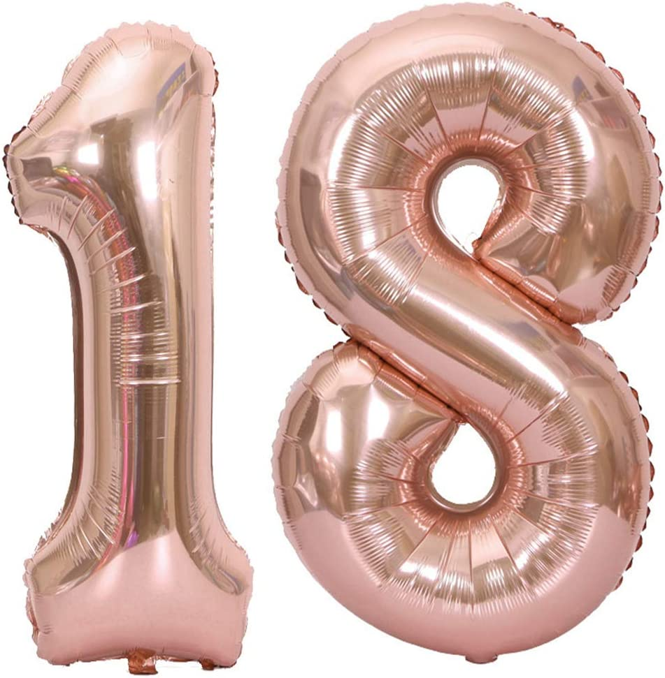 Rose Gold Number 18 Rose Gold Number 18 Balloons,40 Inch Birthday Number Balloon Party Decorations Supplies Helium Foil Mylar Digital Balloons