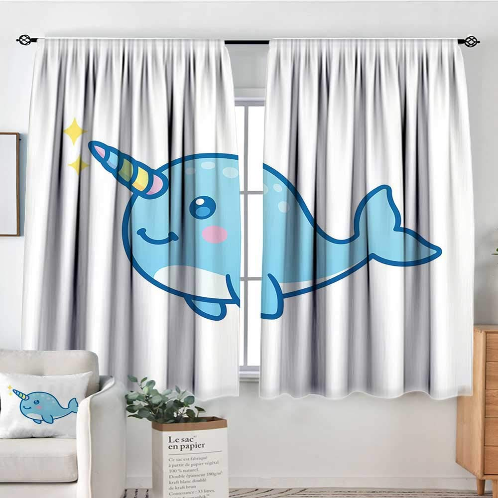 Narwhal Kids Room Decor Cartoon Drawing Style Whale with Rainbow Horn Unicorn of The Ocean Arctic AnimalMulticolor Light Curtain W63 x L45