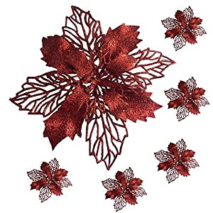 """BANBERRY DESIGNS Poinsettia Decorations - Large Poinsettia Flowers with Clips - Red Floral Ornaments - 6"""" Red Poinsettias - Artificial Poinsettias 23"""