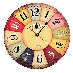 Fcoson Retro Vintage Silent Wall Clock 12 Inch Round Decorative Clocks Non Ticking For Living Room Bedroom Office Decoration Type B