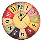 Cheap Fcoson Retro Vintage Silent Wall Clock 12 Inch Round Decorative Clocks Non Ticking For Living Room Bedroom Office Decoration Type B