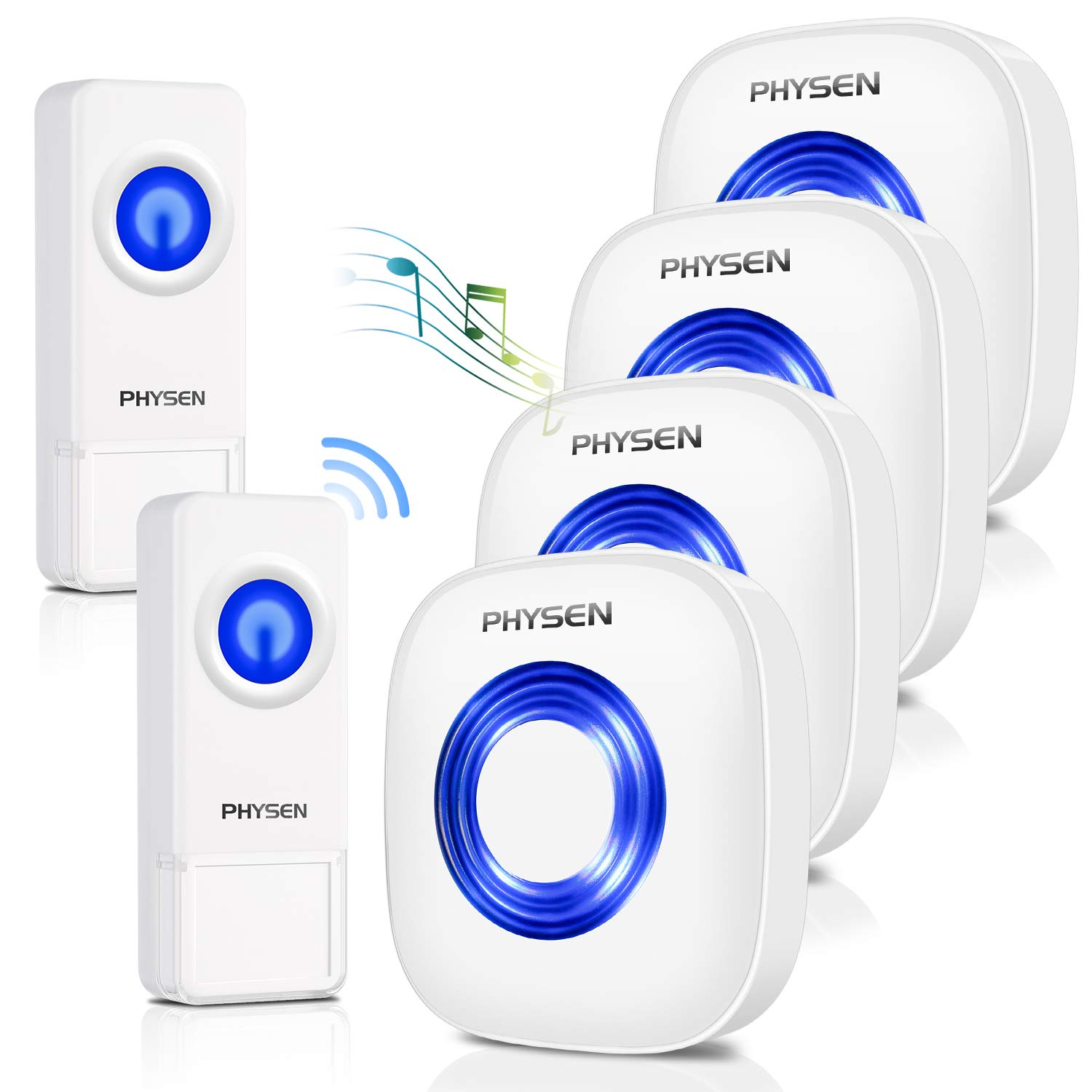 Physen Model CW Waterproof Wireless Doorbell kit with 2 Push Buttons and 4 Plugin Receivers,Operating at 1000 feet Long Range,4 Volume Levels and 52 Melodies Chimes,No Battery Required for Receiver