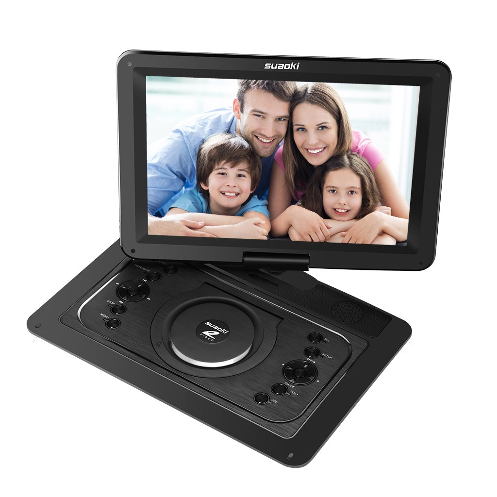 SUAOKI 14.1'' Portable DVD Player with HD 1080P Swivel Screen, Support USB / SD Card, Multi-media Built-in 5 Hour Rechargeable Battery, Comes with Car Headrest Mount Holder