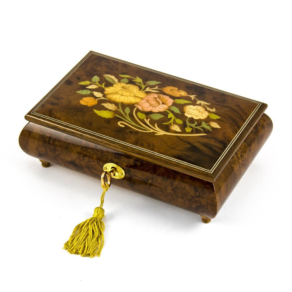 Handcrafted 18 Note Italian Walnut Floral Inlay Musical Jewelry Box with Lock and Key - Fountain of Love - SWISS (+$45)