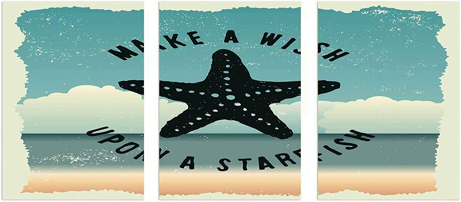 3 Piece Canvas Wall Art, Starfish Decor Unframed Canvas Painting - Make a Wish Upon a Starfish Inspirational Quote on Beach Grunge Artwork 16