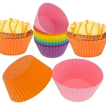 kiboom 24-Pack reutilizable de silicona para cupcakes - moldes para cupcakes para magdalenas tazas moldes: Amazon.es: Hogar