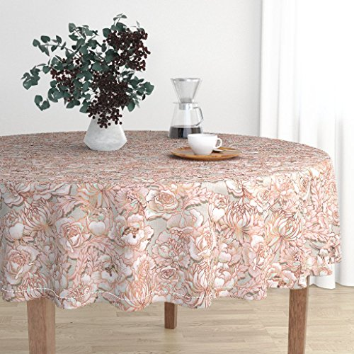Roostery Round Tablecloth - Peony Floral Peony Peony Rose Chrysanthemum Flower Japan Bouquet Wedding Floral by Nouveau Bohemian - Cotton Sateen Tablecloth - Bouquet Japan