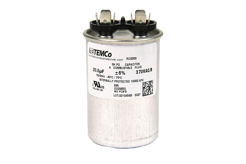 TEMCo Motor Run Capacitor RC0009-20 mfd 370 V VAC Volt 20 uf Round HVAC  TEMCo AC Electric