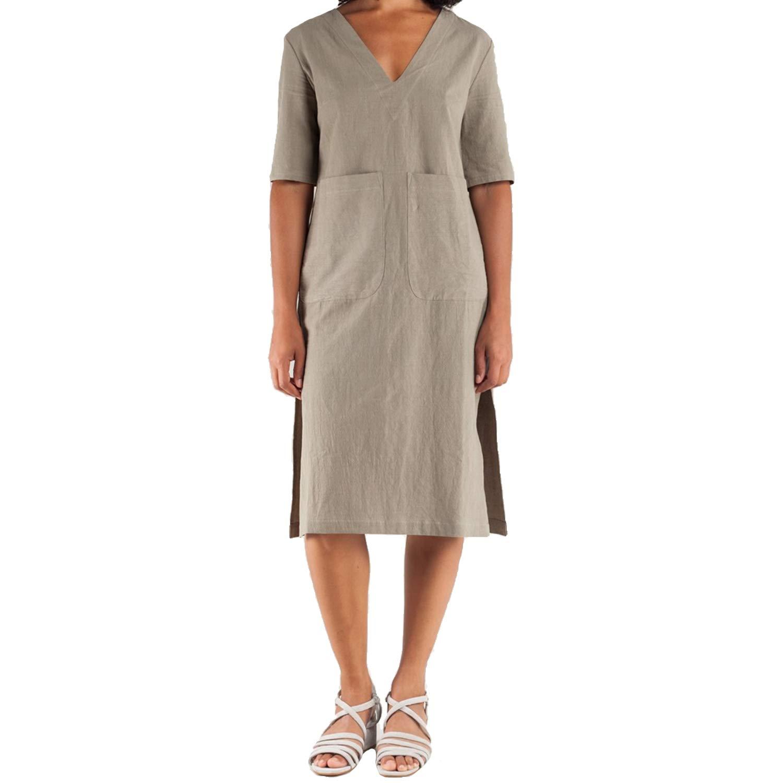 Sunja Link Womens VNeck Pocket Dress Sage 1, 2