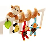 Yeahibaby Cute Monkey Design Infant Baby Activity Spiral Bed Stroller Toy Bed Musical Rattles Hanging Bell Crib Toy or Stroller Toy Wraps Around the Crib or Car Seat Travel Activity Toy for 0-36 Month