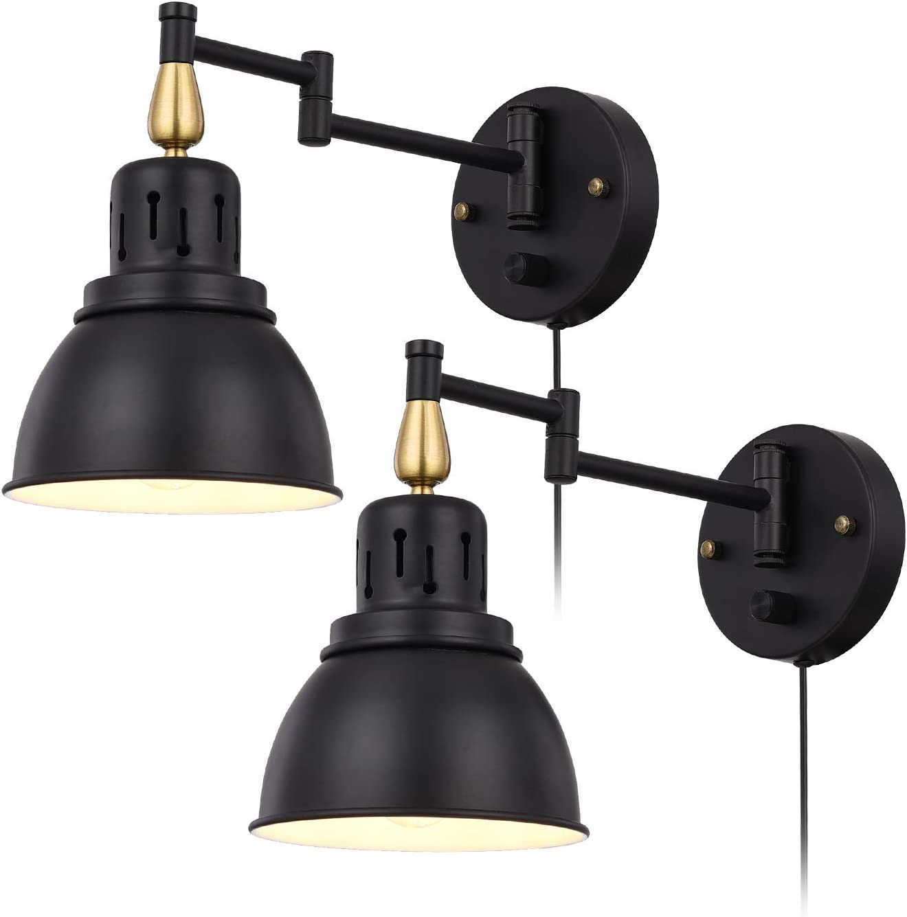 Trlife Plug In Wall Sconces Set Of 2 Dimmable Swing Arm Wall Lights Wall Sconce Lighting Wall Mounted Light With 6ft Plug In Cord And On Off Switch E26 Base Ul Listed Wall Lamps Sconces Amazon Canada