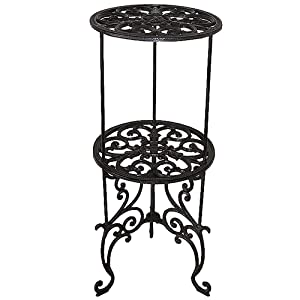 Sungmor Heavy Duty Cast Iron Potted Plant Stand,26-Inch 2 Tiers Metal Planter Rack,Decorative Flower Pot Holder,Vintage & Rustic Style Indoor Outdoor Garden Pots Container Supports