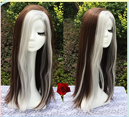 Price comparison product image X-Men Days of Future Past Rogue Cosplay Wig, 70cm Long Medium Brown Mixed Silver White Two Colors Straight Wigs for Party UF131
