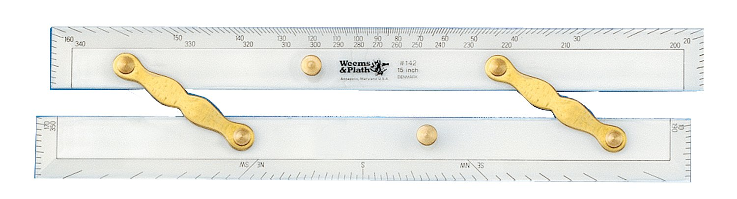 Weems & Plath Marine Navigation Parallel Ruler (Brass Arms, 15-Inch)