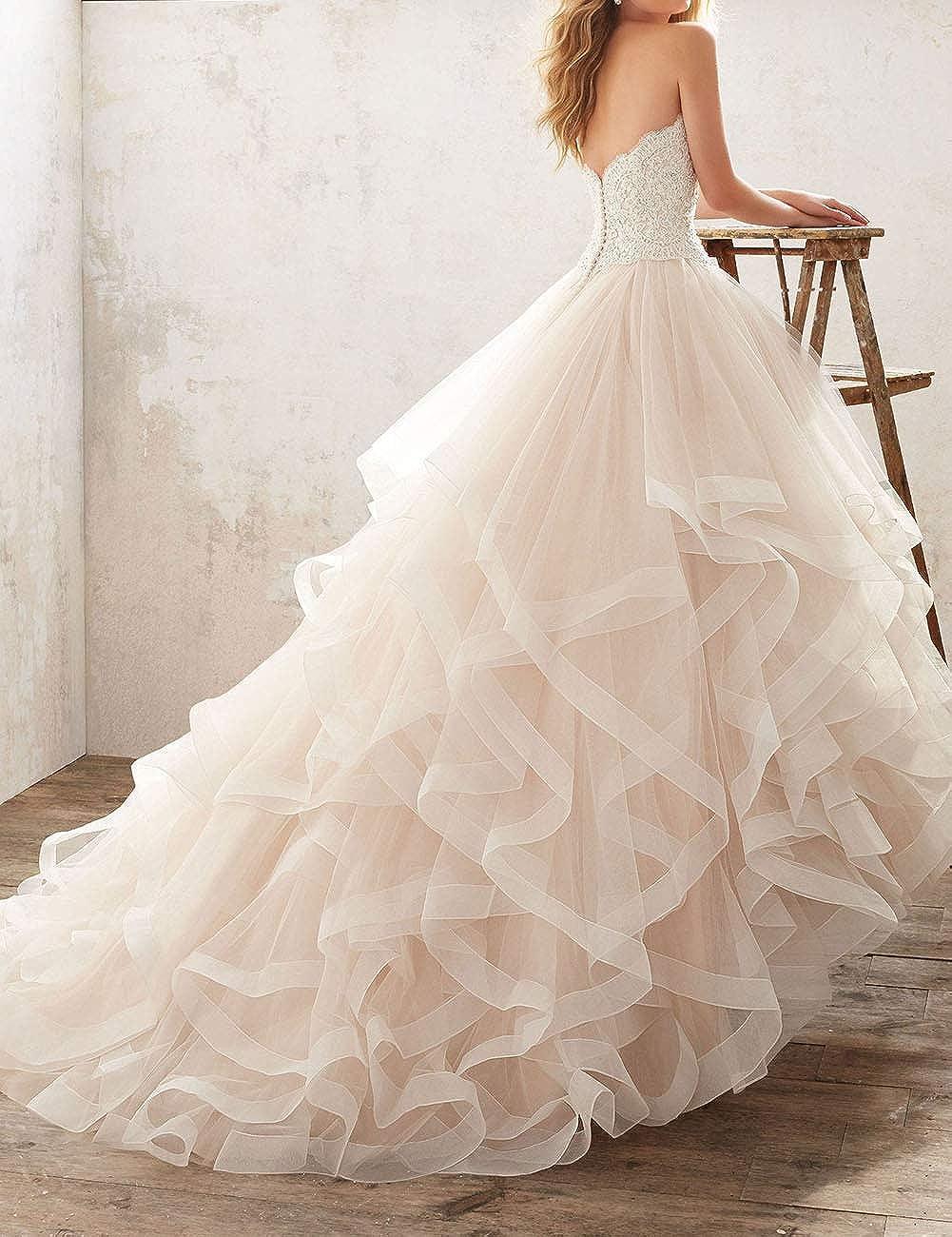 HUINI Brautkleider Prinzessin mit Spitze A-Linie Hochzeitskleider Lang T/üll Tr/ägerloses Herzausschnitt mit Schleppe
