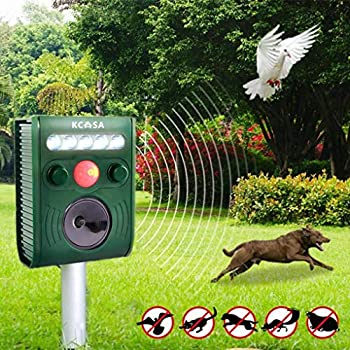 Yongse KCASA KC-JK369 Garden Ultrasonic PIR Sensor Solar Animal Repeller Strong Flashlight Bird Repel