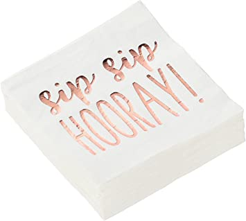 Sip Sip Hooray Party Supplies Paper Napkins Rose Gold Foil 5 X 5 In 50 Pack Health Personal Care Amazon Com