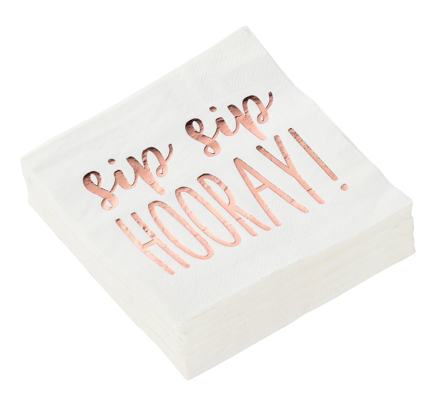 Cocktail Napkins - 50-Pack Luncheon Napkins, Disposable Paper Napkins Party Supplies, 3-Ply, Sip Sip Hooray, Rose Gold Foil Print, Unfolded 10 x 10 inches, Folded 5 x 5 inches