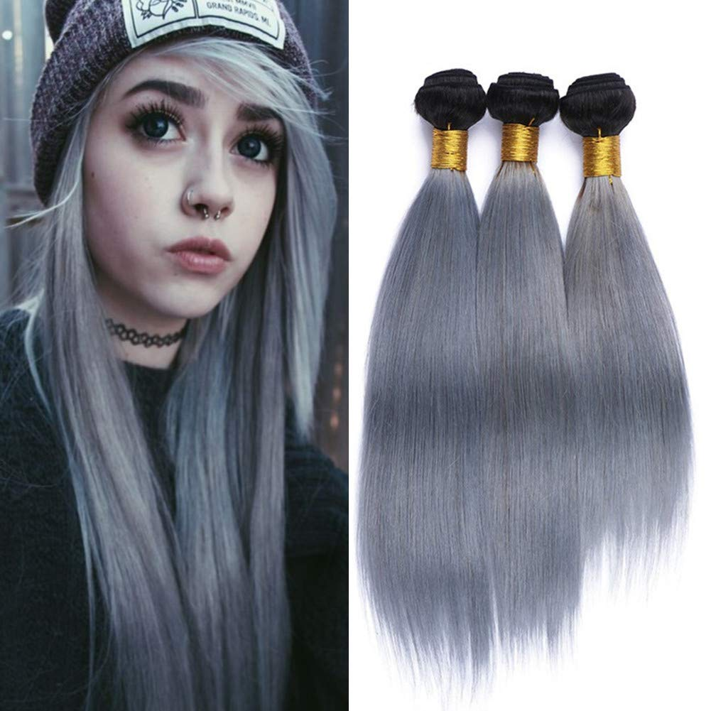 "#1B/Grey Black Roots Ombre Brazilian Human Hair Weaves Straight Ombre 2 Tone Bundles Deals 3Pcs Ombre Silver Grey Human Hair Wefts Extensions 10-30"" Mixed Length (10 10 10)"