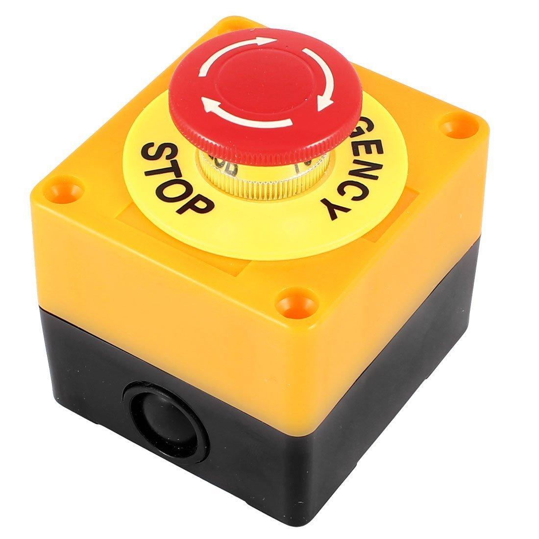 REFURBISHHOUSE Interrupteur Bouton Poussoir Arret Urgence AC 660V 10A Plastique Coque Dure Rouge