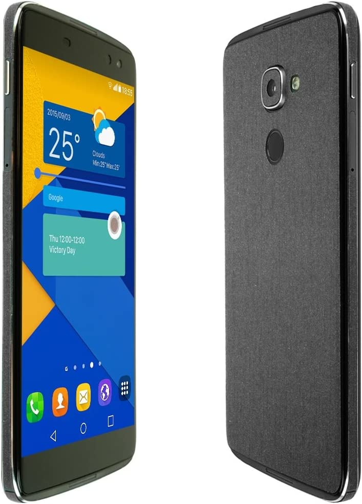 TechSkin with Anti-Bubble Clear Film Screen Protector Full Coverage Skinomi Brushed Steel Full Body Skin Compatible with Alcatel Idol 4S