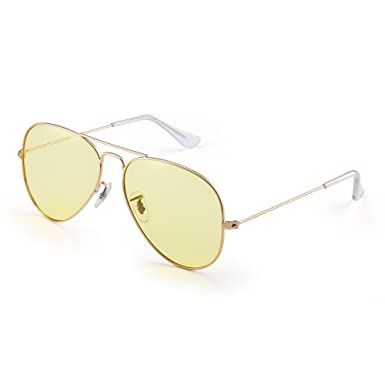 19e62c71ed4 Retro Aviator Night Driving Glasses Anti-glare Yellow Tint Sunglasses Men  Women (Gold Yellow)  Amazon.co.uk  Clothing