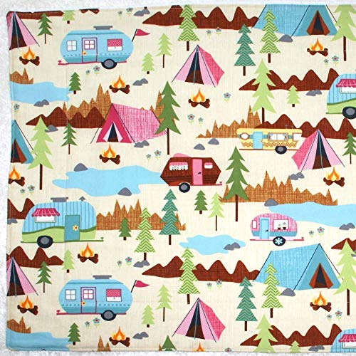"""Dish Drying Mat - Pet Placemat - Appliance Mat - Dish Drainer - Retro Vintage Campers - 16""""x20"""""""