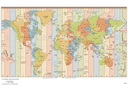 Buy World Map Wallpaper, Time Zone Map of World for Office ...
