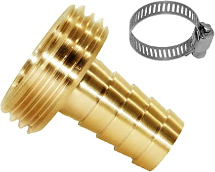 "5//8/"" Barb x 3//4/"" Male GHT Thread Brass Garden Hose Pipe Connector/& Clamp"