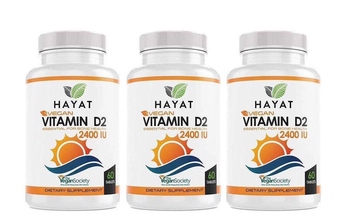 Hayat Vitamins Vegan Natural Vitamin D 2400 IU, D2 (Pack of 3)