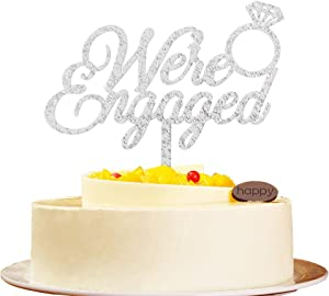 We're Engaged Silver Cake Topper, Wedding Engagement Bachelorette Party Decors, Bridal Shower Party Sign Supplies Props