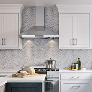 """CAVALIERE Range Hood 30"""" Inch Wall Mount Stainless Steel Kitchen Exhaust Vent, With 400 CFM, 3 Speed Fan & Touch Sensitive Control Panel LED lights"""