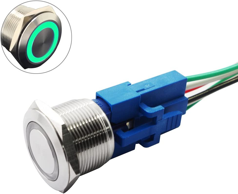Waterproof Momentary ON OFF Green Push Switch Button //Boat,Car