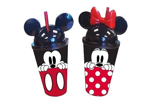 Disney Mickey y Minnie Mouse Orejas vasos, 16 onzas, paquete de 2 ...