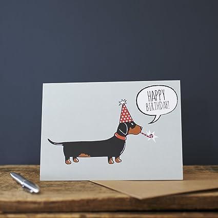 Perro salchicha tarjeta de felicitación de cumpleaños