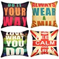 YOUR SMILE 4pcs Cotton Linen Sofa Home Decor Design Throw Pillow Case Cushion Covers Square 18 Inch …