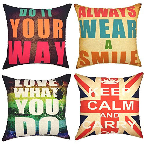 (YOUR SMILE Phrase Series Decorative Throw Pillow Case Cushion Covers 18x18,Set of 4(Proverb))