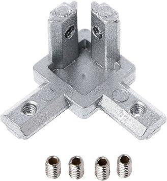 sylive 4pcs T Aluminio ranura Perfil de 3 Vías conector soporte de ...