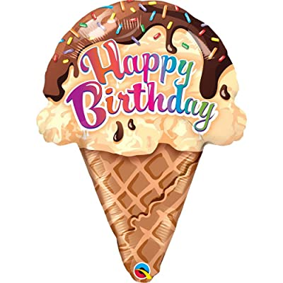 "PIONEER BALLOON COMPANY 16400 27"" Qualatex Birthday Ice Cream Cone Foil Balloon, Multicolor: Kitchen & Dining"