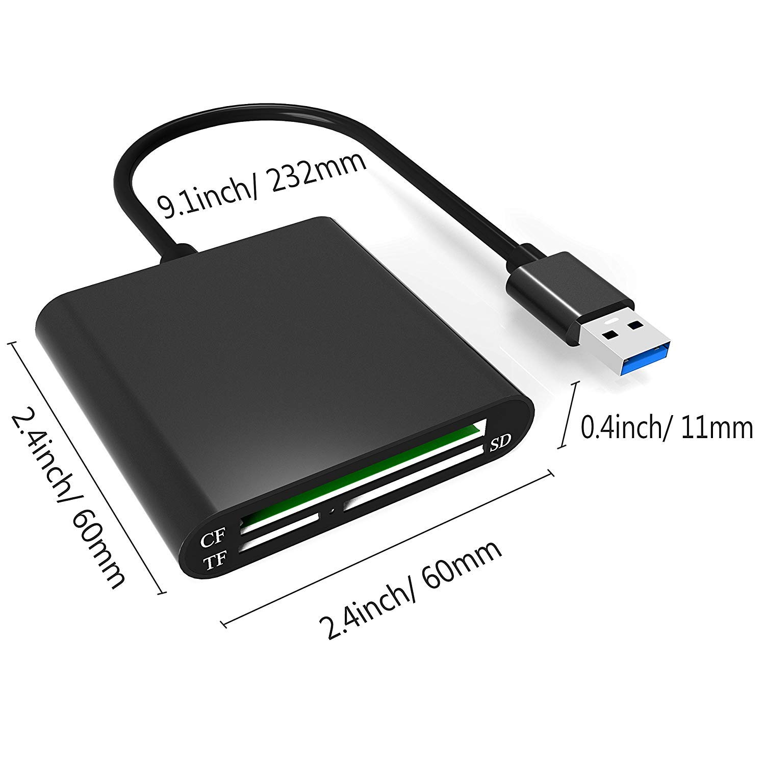 USB 3.0 Aluminum Card Reader MacBook Air MacBook PCs and Laptops MacBook Pro Mac Mini Alcey Superspeed USB 3.0 Multi-in-1 3-Slot Card Reader for CF//SD//Micro SD//TF for iMac