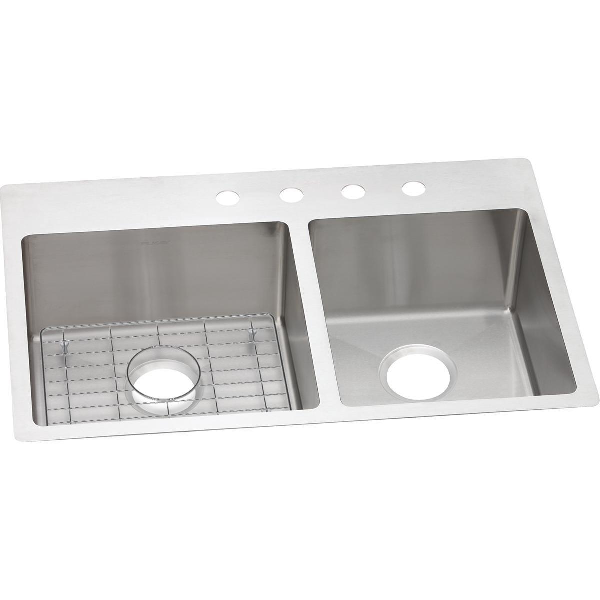 Elkay Crosstown ECTSRO33229RBG4 60/40 Double Bowl Dual Mount Stainless Steel Sink Kit