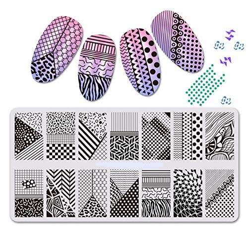 1 Pcs Flowers Geometric Puzzle Nails Art Stamps Plate Rectangle Nail Stamping Plates Kit Cool Popular Gel Polish Christmas Tropical Clear Design