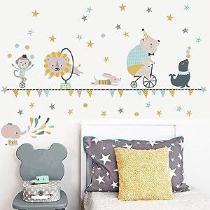 Happy Animal Circus Wall Decal Cute Lion Monkey Elephant Wall Art Sticker Shining Star Removable Wall Art Decor for Kids Bedroom Baby Nursery